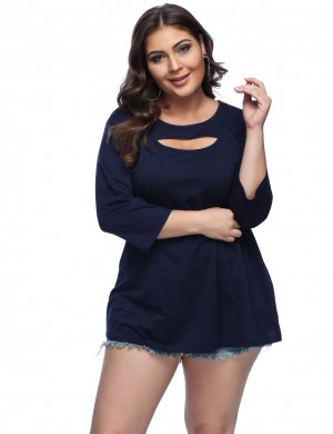 Plus Wonderful Navy Blue 3/4 Sleeve Shirts Round Collar Natural Women Fashion