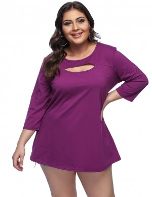 Affordable Purple Cut Out Tops Loose Queen Size