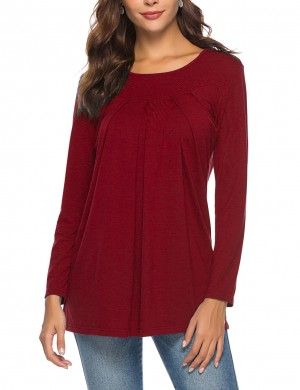 Catching Pure Color Blouse Long Sleeve Casual Fashion Red