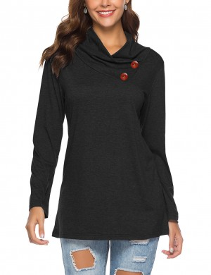 Bright Black Asymmetry Ruffled Collar Long Sleeve Tops For Every Occasion