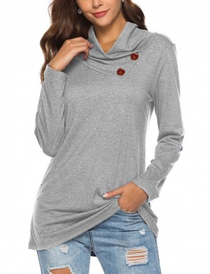 Explorer Gray Long Sleeve Blouses Button Ornament Super Sexy