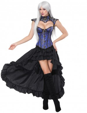Sophisticated Blue 16 Plastic Bones Corset Skirts Set Flower