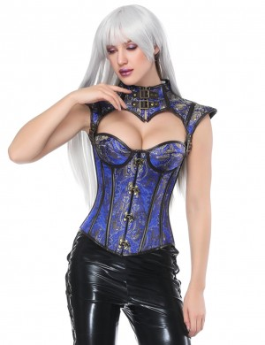 Royal Blue Plastic Boned Overbust Corset Cap Sleeve Best Materials