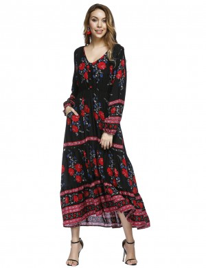 Sheath V Neck Black Print Maxi Dress Decorated Buttons Home Dress
