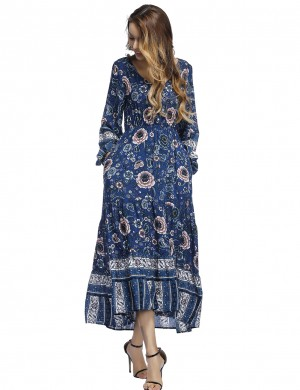 Blue Lantern Sleeve Floral Maxi Dress Decor Buttons For Women