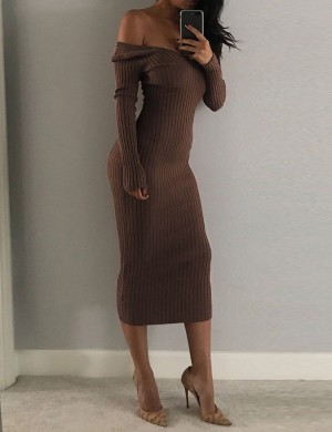 Premium Brown Off Shoulder Sweater Dress Long Sleeve Fashion Trend