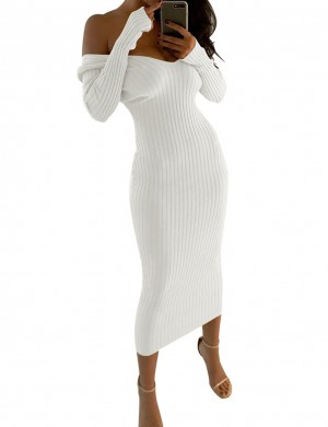 Striking White Off Shoulder Midi Bodycon Sweater Dress Ladies Elegance