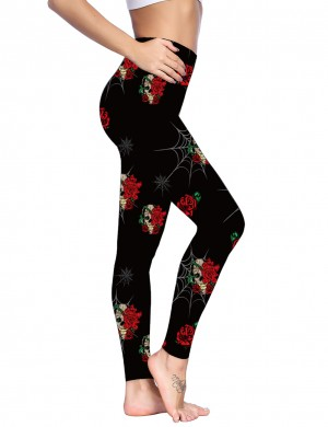 Flirting Black Rose Pattern Brushed Pocket Leggings Women