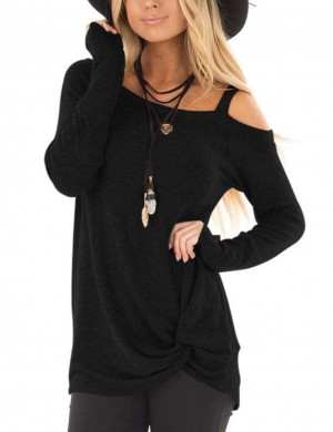 Cozy Black Long Sleeves Top Single Shoulder Strap Women's Tops