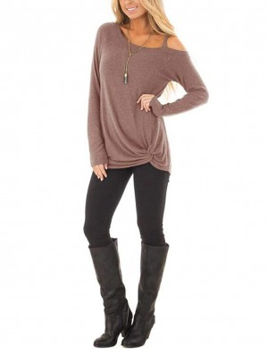 Fetching Brown Single Shoulder Strap Top Long Sleeve Chic Online