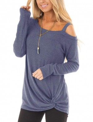Sparkling Light Blue Full Sleeves Sweatshirt Cold Shoulder Glamor Women