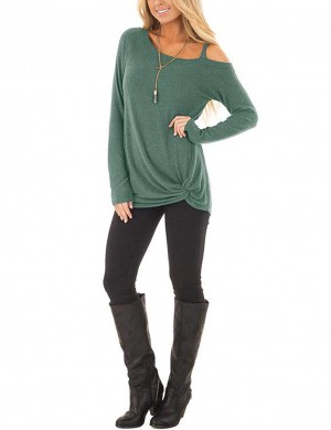 Supper Fashion Green Long-Sleeved Shirt Front Twist Hem