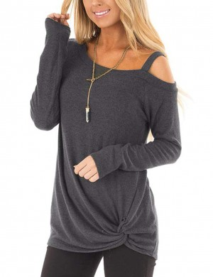 Dainty Dark Grey Full Sleeves Tops Unsymmetric Shoulder Streetstyle