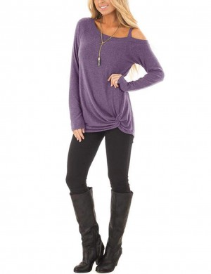 Affordable Purple Asymmetrical Hem Cold Shoulder Shirts For Women