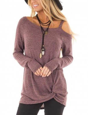 Dark Purple One Strap Sweatshirts Asymmetrical Hem Fashion Design