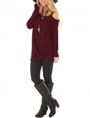 Wine Red Twist Hem Sweatshirt Single Shoulder Strap Preventing Sweat