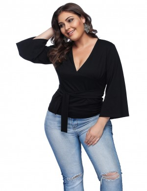 Soft-Touch Plus Size Black V Neck Tops Bell Sleeves Trend For Women