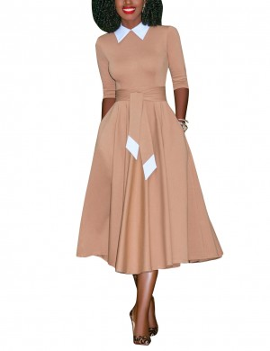 Glittering Apricot Plain Skater Dress With Waist Sash For Streetshots