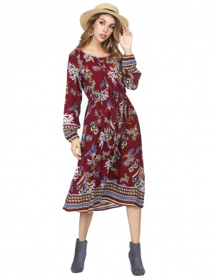 Captivating Flared Long Sleeves Dress With Pocket Wine Red Nice Quality