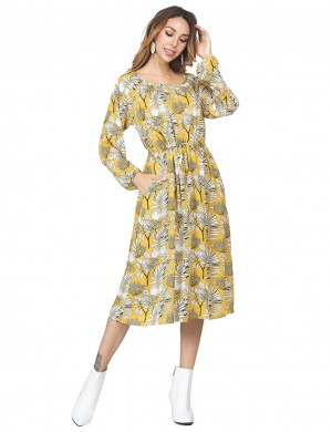 Utility Bell Sleeved Long Dress Flower Pattern Yellow Supper Fashion