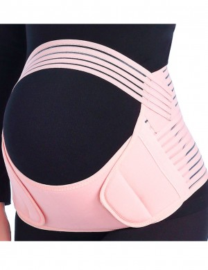 Natural Shaping Mesh Pregnancy Support Belt Double Sticker Pink Instantly Slims