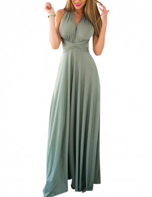 Fetching Celadon V Neck Maxi Length Formal Dress Multi-Way Straps