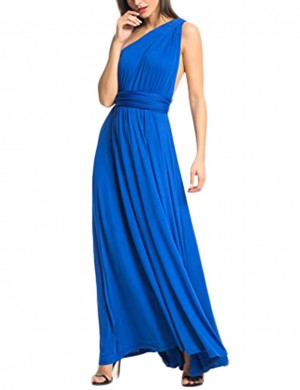 Comfy Sapphire Blue Drapery Hem Crossover Back Evening Dress