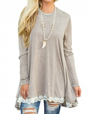 Exceptional Light Gray Asymmetric Lace Hem Sweatshirt Round Neck For Beauty