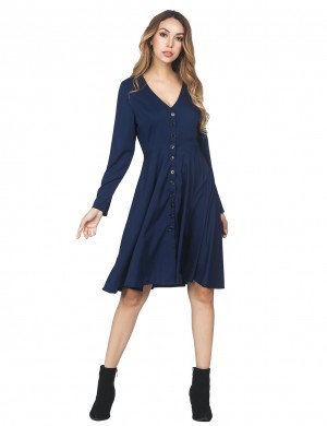 Fabulous Fit Long Sleeved Navy Blue Flared Dress With Button Leisure Wear