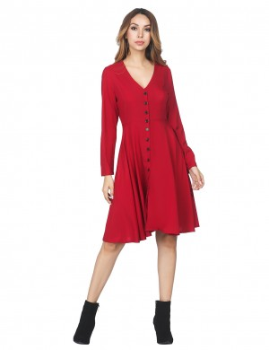 Delightful Front Buttons Red Swing Dress V Collar For Streetshots