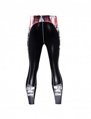 High Elastic Color Patchwork Sports Leggings Big Size