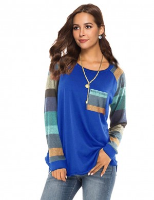 Comfy Blue Banded Cuffs Splice Irregular Sweatshirt Fashion