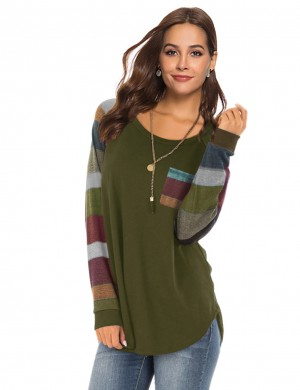 Striking Green Round Collar Sweatshirt Stripes With Pocket Preventing Sweat