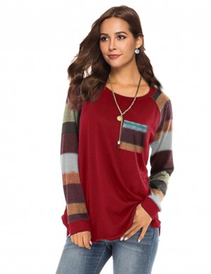 Elegance Wine Red Long Striped Sleeves Patchwork Sweatshirt Supper Fashion
