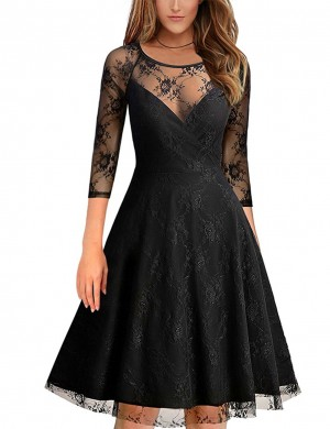 Sweet Black Flower Lace Skater Dress 1/2 Sleeves Hollow Out