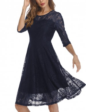 Inviting Navy Blue Lace Round Neck Skater Dresses Zipper Breathable