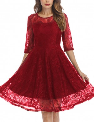 Good-Looking Red Invisible Zip Skater Dress Flower O Neck For Sexy Women