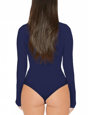 Slimming Dark Blue Solid Color High Cut Bodysuit High Neck Form Fitting