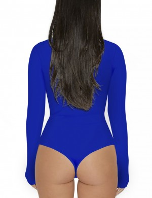 Trendy Sapphire Blue One Piece Pure Color Bodysuit Snap Button