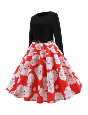 Causal Red Skater Dress Christmas Printed Belt Splice Visual Effect