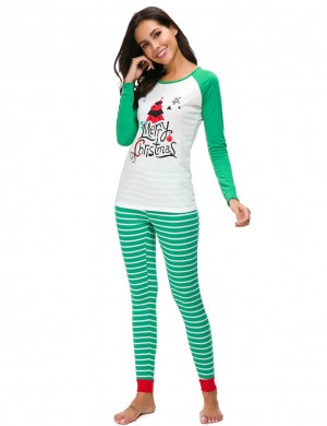 Inexpensive Green Big Size 2 Pieces Christmas Loungewear Slim Fit