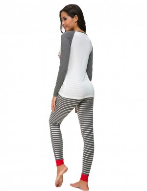 Simplicity Grey Queen Size Xmas Round Neck Loungewear Print For Lady
