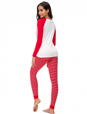 Fabulous Red Long Sleeves Christmas Loungewear Large Size Standard Fit Allover