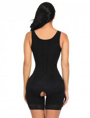 Shimmer Black Large Size Wide Straps Bodysuit Anti-Curling Slim Waist