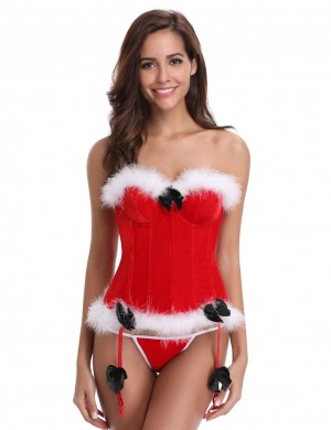 Intriguing Red 12 Plastic Bones Santa Bustier With Thong Forward Women
