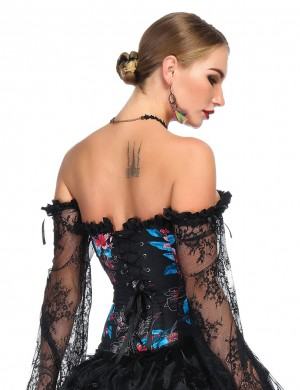 Amazing Flower Pattern Corset 12 Plastic Bones Invisible