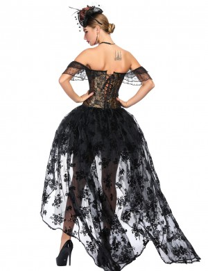 Figure Compression Black Off Shoulder Jacquard Corset Set Plastic Bones