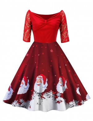 Marvelous  Red Christmas Floral Lace Skater Dress V-neck Comfort