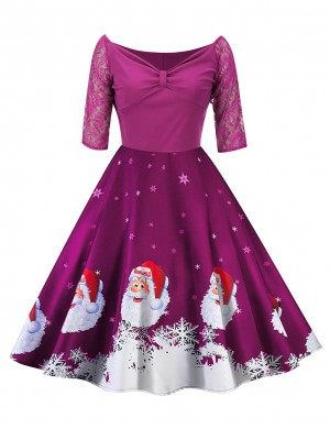 Stunning Purplish Red Stitching Skater Dress Santa Clause Pattern Women