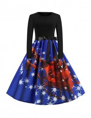 Trendy Blue Front Bowknot Skater Dress Reindeer Print Fashion Essential